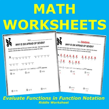 Function Notation Riddle Worksheet by Michael Cagnin | TpT