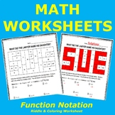 Function Notation Riddle and Coloring Worksheet