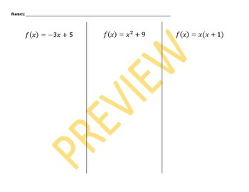 Function Notation Sorting Activity (Differentiated)