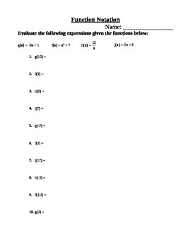 Function Notation Worksheet