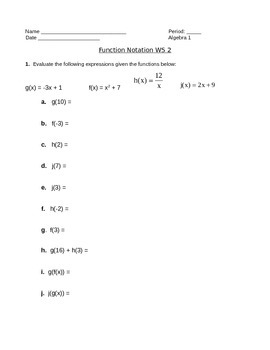Function Notation Worksheet 2