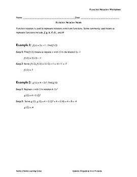 Function Notation Worksheet W/ Answer Key | TpT