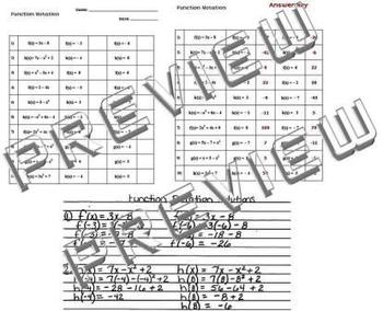Function Notation Worksheet... by The Math Magazine | Teachers Pay ...