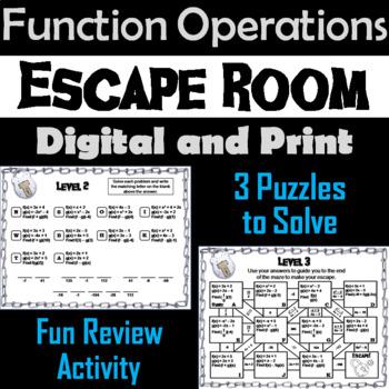 Function Operations Activity: Algebra Escape Room Math