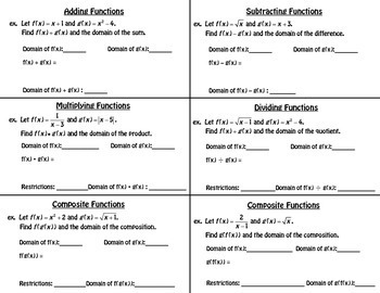 Function Operations Foldable