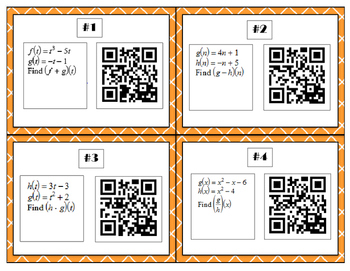 Function Operations QR Task Cards