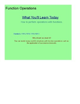Function Operations SmartBoard Lesson
