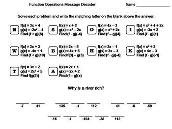 Function Operations Worksheet: Math Message Decoder