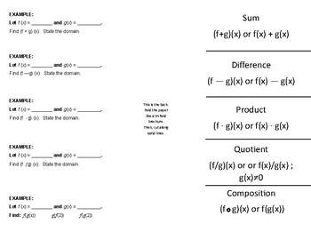 Function Operations and Composition of Functions Foldable