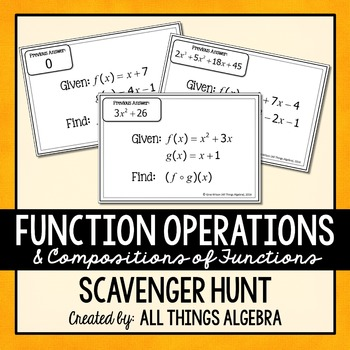 Function Operations And Compositions Scavenger Hunt By All Things