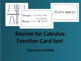 Function Review for Calculus:  Card Sort