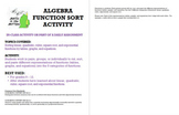 Function Sort Activity for Algebra with Tables, Graphs, an