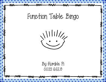 Function Table Bingo- 6.EE.9