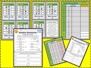 Function Table Cards and Number Sentences Practice