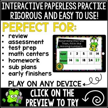 Function Table (Input/Output) Boom Cards Bundle Saint Patrick's Day Theme