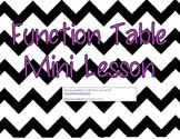 Function Table Mini Lesson