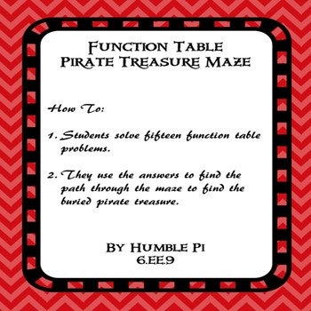 Function Table Pirate Treasure Maze- 6.EE.9