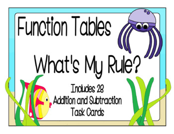 Function Tables - Addition and Subtraction Input/Output Ta