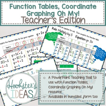 Function Tables, Coordinate Graphing Oh My! Teacher's Edit