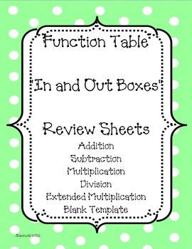Function Tables (In and Out Boxes) CCSS Aligned