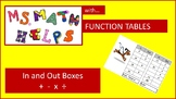 Function Tables --- In and Out Boxes --- Input Output Tables