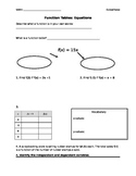 Function Tables Notes