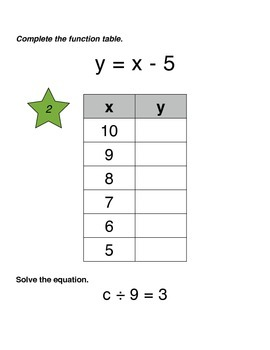 Function Tables - Student Practice