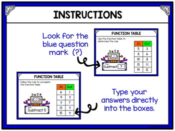 Function Tables - Subtraction for Google Drive and Google Classroom