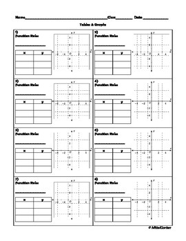 Function Tables and Graphs on Homework Boxes