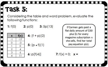 evaluating functions task card activity by scaffolded math. Black Bedroom Furniture Sets. Home Design Ideas