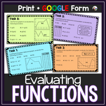 Evaluating Functions Task Card Activity