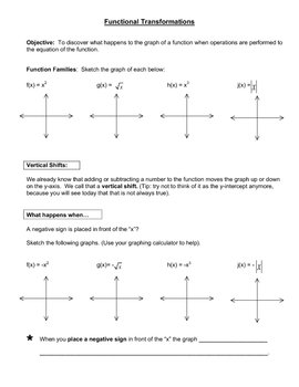 Function Transformation- Reflections, Vertical and Horizontal Shifts