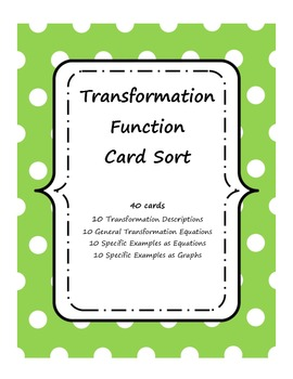 Function Transformations Card Sort