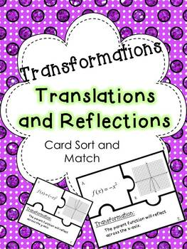 Function Transformations Card Sort and Match Puzzle Activity