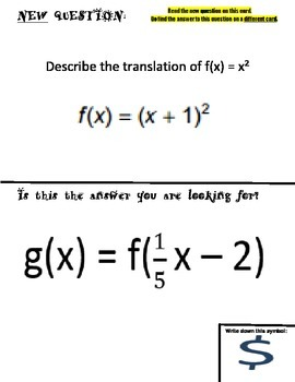 Function Transformations Scavenger Hunt