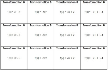 Function Transformations Sort and Graph Activity