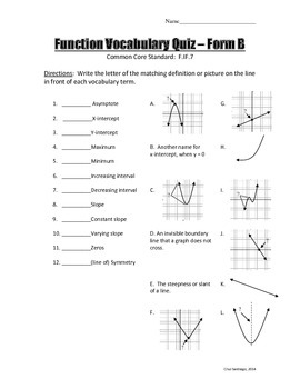 Function Vocabulary Quiz - Three Forms + Answer Key