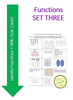 Function Worksheet and Sort Activity - Identify Functions and Give D&R - # 3
