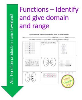 Function Worksheet and Sort Activity - Identify Functions and give the D &  R #2