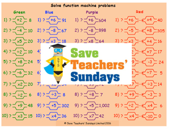 Function machines lesson plans, worksheets and other teach