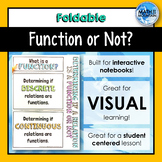 Function or Not? Determing if relations are functions FOLDABLE