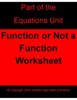 Function or Not a Function Worksheet - Printable and DIGITAL