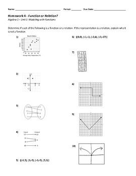 Function or Relation Homework