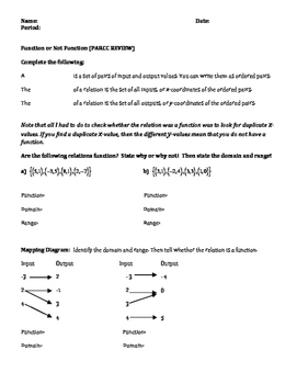 Function or not Function Worksheets (PARCC Review)