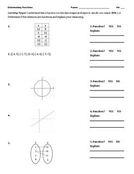 Function Or Not A Function Worksheet Homework Quiz Tpt