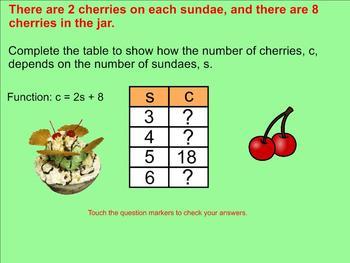 Function tables with Linear Equations Smartboard Lesson