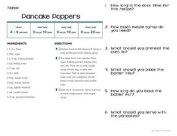 Functional Academics - Reading Recipes Unit 1 - Life Skills