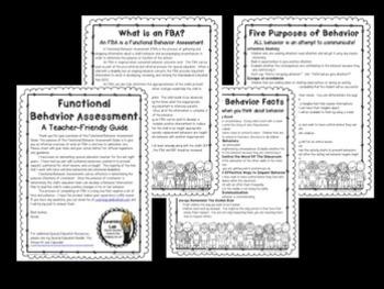 Functional Behavior Assessment (FBA) - A Teacher-Friendly Guide