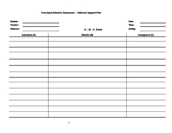 Functional Behavior Assessment/Behavior Support Plan Template