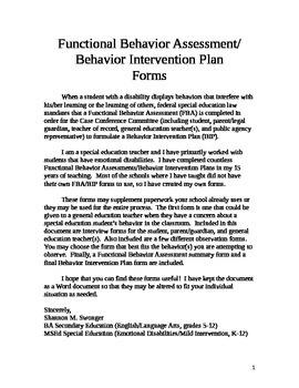 Functional Behavior Intervention/Behavior Intervention Plan Forms
